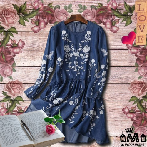 ROBE DENIM - BRODERIE FLORALE - MANCHES LONGUES