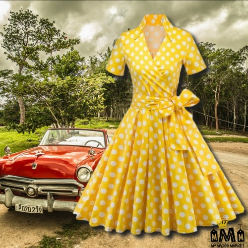 ROBE VINTAGE - POIS & MANCHES COURTES - 50 'S SWING