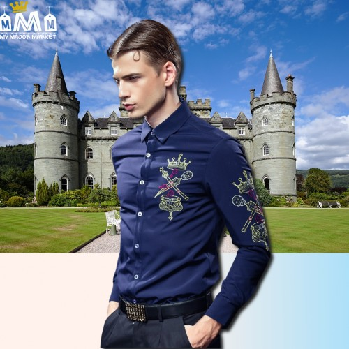 CHEMISE HOMME - MANCHES LONGUES - BRODERIES & VELOURS