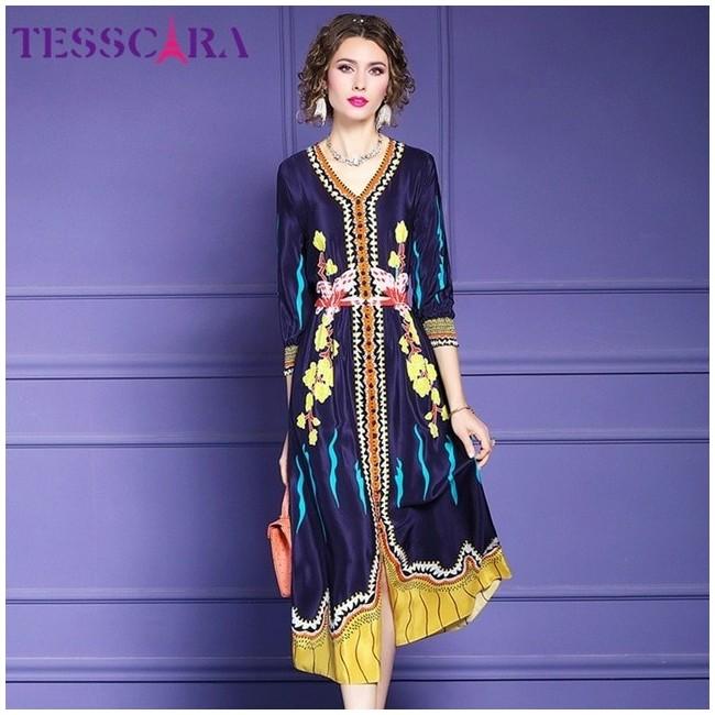 TESSCARA - Robe Longue pour Femme - Motif Fleuri - Mousseline de Soie 38,99 € | My Major Market