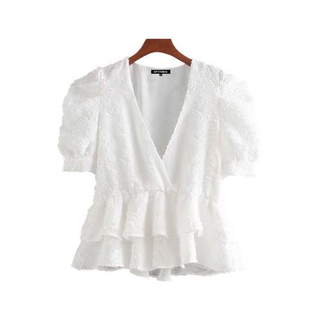MMM SÉLECTION - Haut Vintage - Style Romantique - Manches bouffantes - Saison Printemps-été 22,99 €   My Major Market